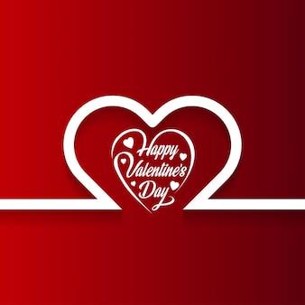 De dagkaart van gelukkig valentine met harten en rode achtergrond