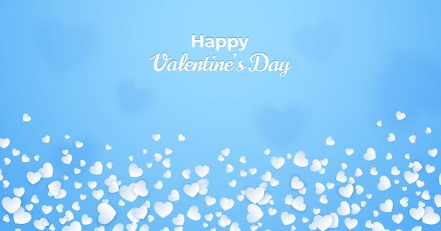 De dagkaart van valentine, vat blauwe achtergrond met witte harten samen
