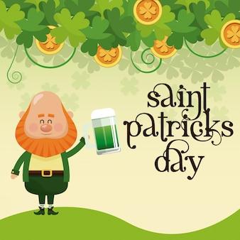 De dagkabouter van heilige patricks het drinken van de van letters voorziende affiche van de bierviering