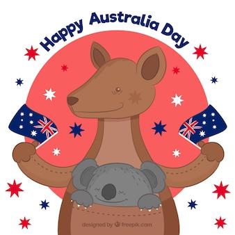 De dagontwerp van australië met gelukkige kangoeroe en koala