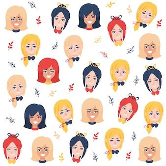 De dagpatroon van kleurrijke vrouwen met vrouwengezichten