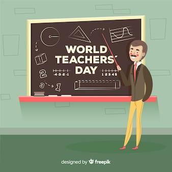 De dagsamenstelling van de kleurrijke wereldleraren met vlak ontwerp