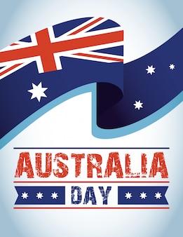 De dagviering van australië met vlag het golven