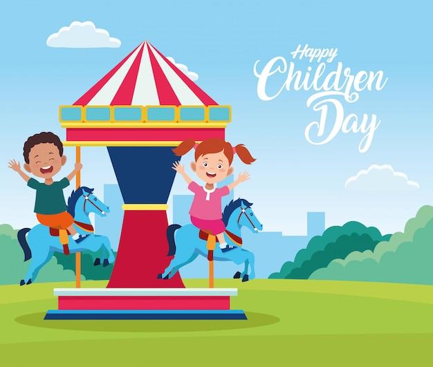 De dagviering van kinderen met jonge geitjes die in carrousel spelen