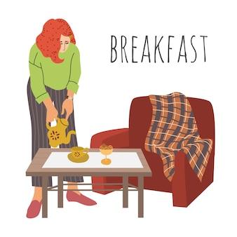 De dame giet thee in een beker