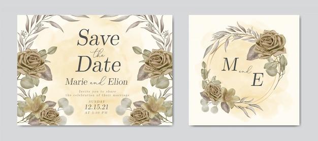 De datum bruiloft uitnodiging met florale sieraad en gouden frame opslaan