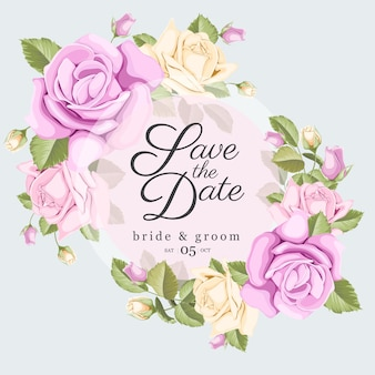 De datum-kaartje opslaat met rozen en bladeren boeket