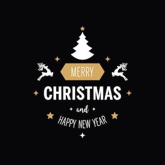 De de groettekst van kerstmis siert gouden zwarte achtergrond