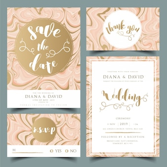 De de uitnodigingskaart van het huwelijk, dankt u kaardt, kaart rsvp en bewaart de kaart van de datum