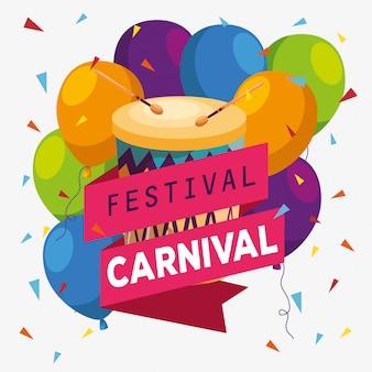 De decoratie van festivalballons met trommel en lint om te vieren