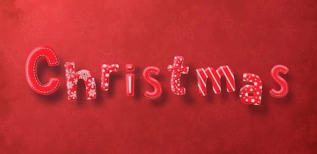De decoratietekst van kerstmis op rode achtergrond