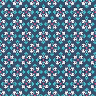De decoratieve achtergrond van het damastpatroon met koele blauwe en groene kleur voor tegelstof en textuur