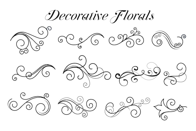 De decoratieve inzameling van wervelings bloemenornamenten