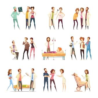 De decoratieve pictogrammen van het beeldverhaalkarakters van de verpleegster die met patiënten worden geplaatst die in medische hulp en verpleegsters vereisen die behandeling verstrekken
