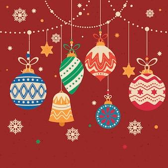 De decoratieve samenstelling van de kerstmisbal