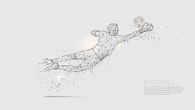 De deeltjes en de lijnpunt van voetbalsterbeweging