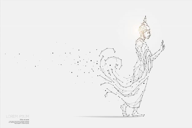 De deeltjes, geometrische kunst, lijn en punt van boeddha.