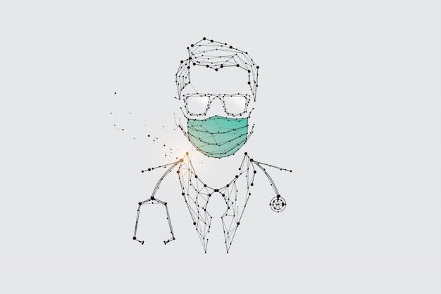 De deeltjes, geometrische kunst, lijn en punt van de mens met masker voor virusbescherming