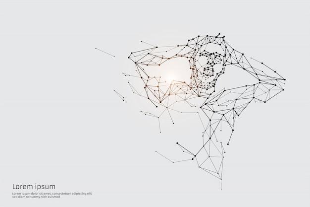De deeltjes, geometrische kunst, lijn en punt van de mens.