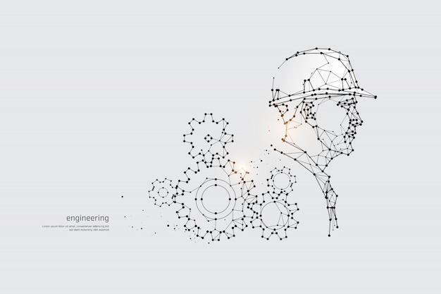 De deeltjes, geometrische kunst, lijn en punt van engineering