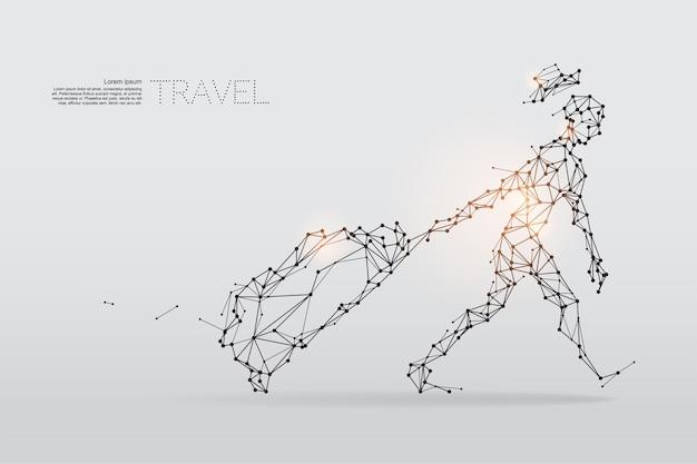 De deeltjes, geometrische kunst, lijn en punt van reizen.