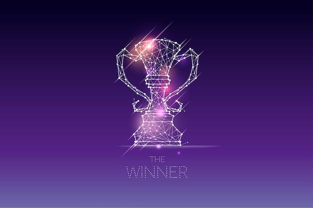 De deeltjes, geometrische kunst, lijn en punt van winnaarstrofee