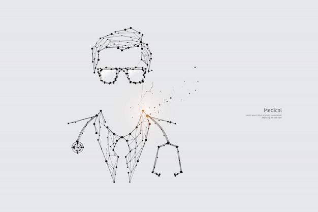 De deeltjes, geometrische kunst, lijn en stip van doctor.