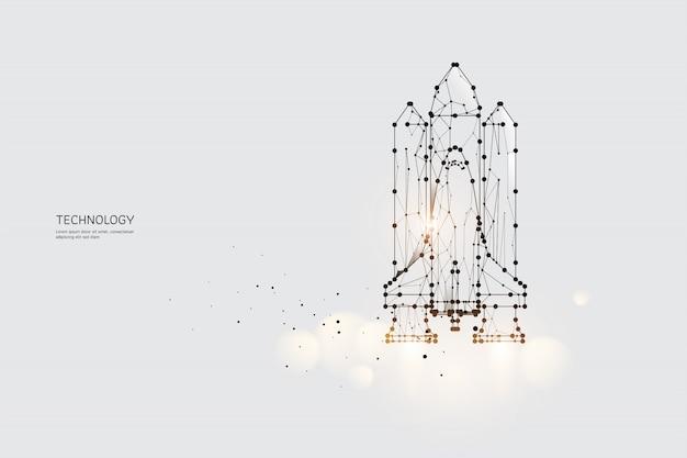 De deeltjes, geometrische kunst, lijn en stip van space shuttle.