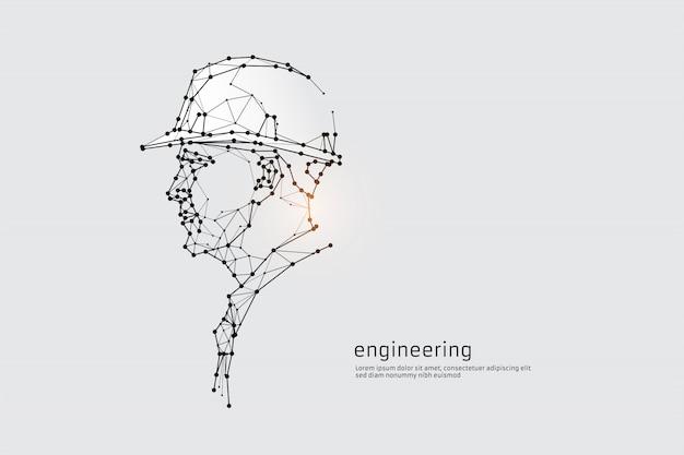 De deeltjes, geometrische kunst, regel en punt van engineering