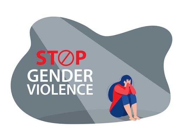 De depressieve vrouw zit op de grond, stop geweld tegen vrouwenconcept, vector