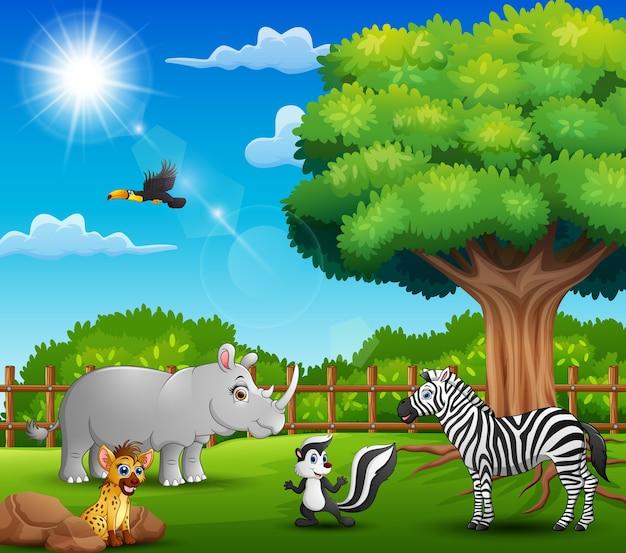 De dieren genieten van de natuur door de kooi