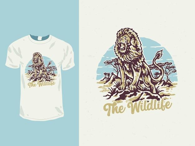 De dieren in het wild van het vintage t-shirtontwerp van het leeuwbeest