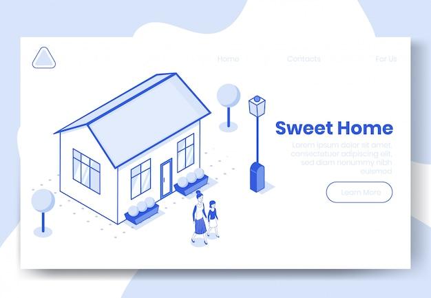 De digitale isometrische scène van het ontwerpconcept van zoet huis