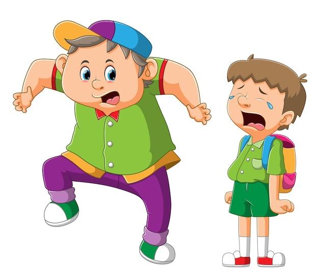 De dikke jongen bespot de jongen die huilt