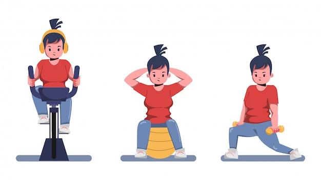 De dikke vrouw zorgt voor gezondheid en wil gewichtsconcept verliezen. blijf thuis en blijf gezond.