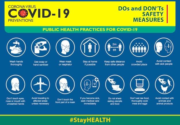 De do en dont veiligheidsmaatregelen of volksgezondheidspraktijken voor covid19 of gezondheid en veiligheid