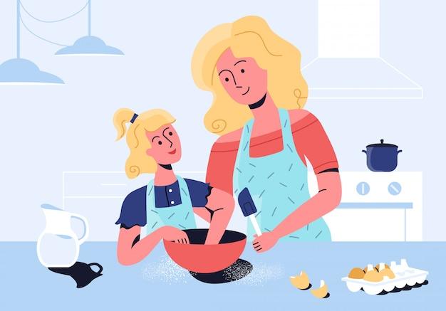 De dochter van het moederonderwijs om gezond voedsel samen thuis te koken. het vormen van gezonde eetgewoonten voor kinderen.