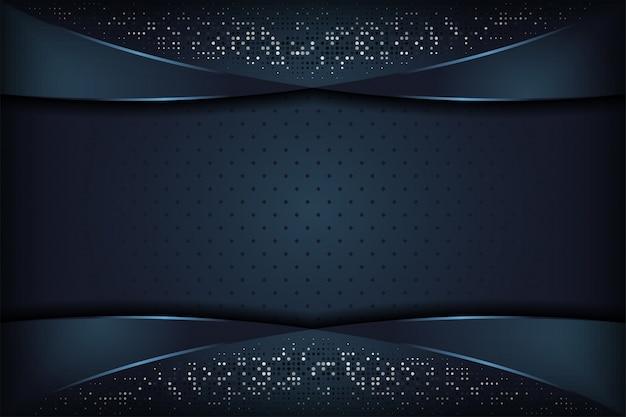 De donkerblauwe gestructureerde overlappingsachtergrond van de laag