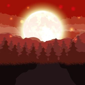 De donkere bosscène van halloween met volle maan