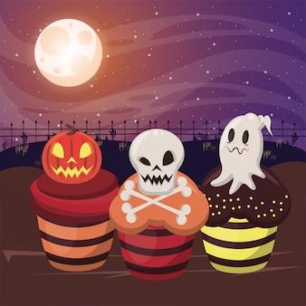 De donkere illustratie van halloween met zoete cupcakes