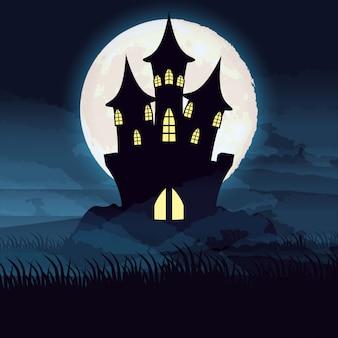 De donkere nacht van halloween met kasteelscène