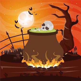 De donkere scène van halloween met heksenketel