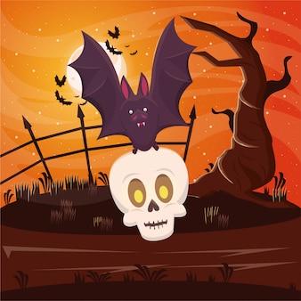 De donkere scène van halloween met knuppel vliegende opheffende schedel