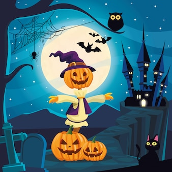 De donkere scène van halloween met vogelverschrikker en pompoenen