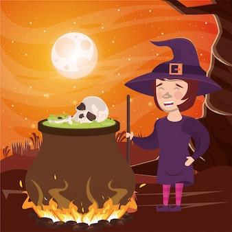 De donkere scène van halloween met vrouw vermomde heks