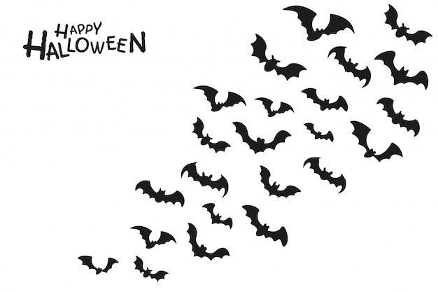 De donkere schaduw van een groep spookvleermuizen die vliegen om bloed te zuigen op halloween-avond.
