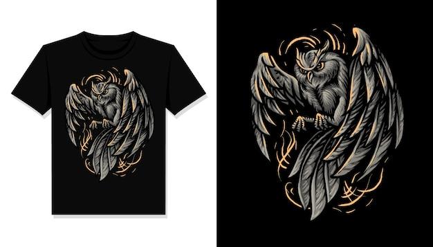 De donkere t-shirt van de uilillustratie