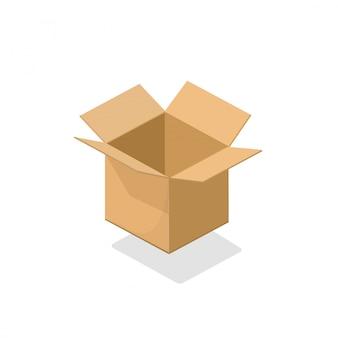 De doos open lege illustratie 3d isometrisch van het kartonpakket