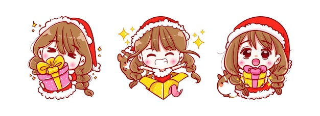 De doos van de de holdingsgift van de kerstman die op vrolijke kerstmis wordt geïsoleerd