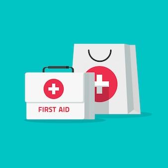De doos van de eerste hulpuitrusting en medische zakillustratie in vlak beeldverhaalontwerp